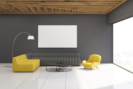 photo real: Gray living room interior with yellow and gray sofas, gray walls, large panoramic window and a horizontal poster hanging above one of the sofas. 3d rendering. Mock up. Stock Photo