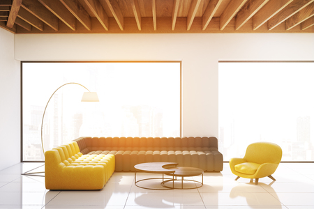 Living room interior with panoramic windows, white walls and wooden ceiling. One gray and one yellow sofa and an armchair. Futuristic coffee table. 3d rendering. Toned image