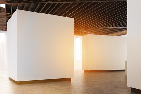 Empty Art Gallery Interior. White Walls, Concrete Floor And Wooden ...
