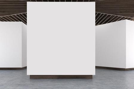 Leeg kunstgaleriebinnenland. Witte muren, betonnen vloer en houten plafond. Concept van moderne kunsttentoonstelling. 3D-rendering, bespotten omhoog