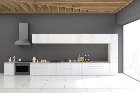 countertop: Gray kitchen interior with marble floor, gray walls and a panoramic window. There is a countertop, an oven and a kitchen exhaust. 3d rendering.