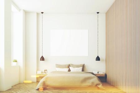 Schlafzimmer Interieur Mit Kingsize-Bett, Ein Regal, Einen Tisch Und ...