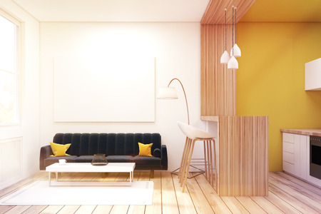 living room stools. Living room interior with a black sofa cushions  bar stools and Close Up Of A Room Interior With Yellow Sofa Bar Stock