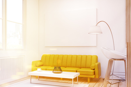 Close up of a living room interior with a yellow sofa, a bar with stools and a large horizontal poster hanging on the wall. 3d rendering, mock up, toned image