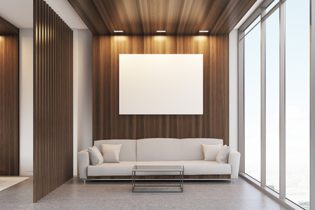 Luxury office waiting room with dark wooden decoration elements, panoramic window and a large comfortable sofa with cushions. 3d rendering. Mock up. Banque d'images