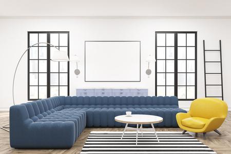 Modernes geräumiges lounge interieur mit gelben sofas einer