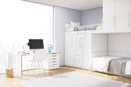 Close up of a room of a teenager with computer standing on a white desk, a closet and a double bed of original construction. 3d rendering. Mock up.
