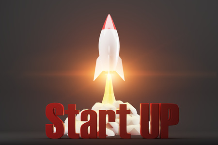 Vertical cartoon rocket space ship taking off against black background. Red 3d start up words. 3d rendering. Mock up.