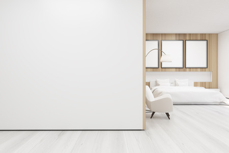 cozy: Bedroom interior with a poster gallery hanging on a wooden wall decoration element and white wall at the foreground. 3d rendering, mock up