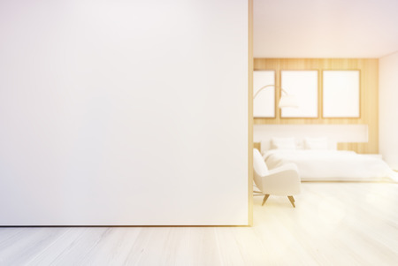 cozy: Bedroom interior with a poster gallery hanging on a wooden wall decoration element and white wall at the foreground. 3d rendering, mock up, toned image Stock Photo