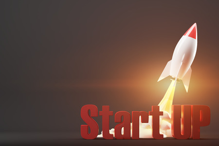 Cartoon rocket space ship taking off against black background diagonally. Red start up words. 3d rendering. Mock up. Stock Photo