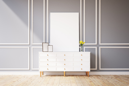 chest wall: Living room interior with an empty picture canvas standing on a small wooden cabinet with a vase with yellow flowers. Gray wall. 3d rendering. Mock up Stock Photo