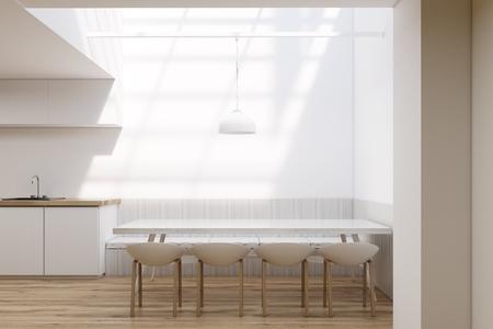 Interieur De Salle A Manger Avec Une Grande Table Entouree De