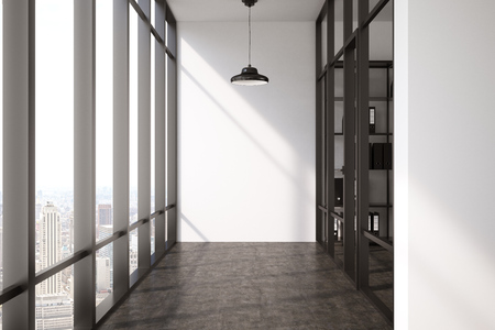 walled: Empty corridor with black floor, panoramic window and a glass walled office with a bookcase stacked with binders. Concept of an office. 3D rendering, mock up