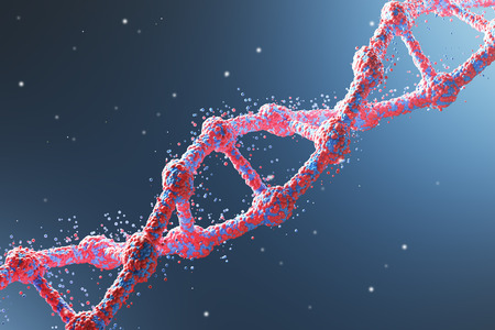 Close up of a red diagonal DNA chain against dark blue background. Concept of science. 3d rendering. Stock Photo