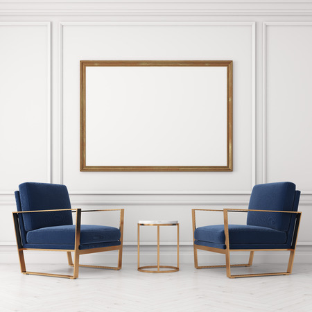 Two blue armchairs are standing near a small coffee table. There is a large horizontal poster on the wall above it. 3d rendering, mock up