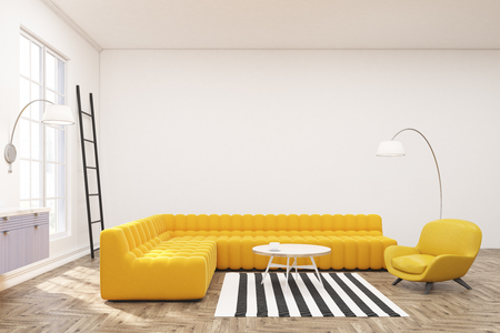 Side view of a modern spacious lounge interior with yellow sofas, a ladder, large windows and a framed horizontal poster in the center. Blue cabinet. 3d rendering, mock up