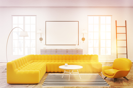 Front View Of A Modern Spacious Lounge Interior With Yellow Sofas, A  Ladder, Large