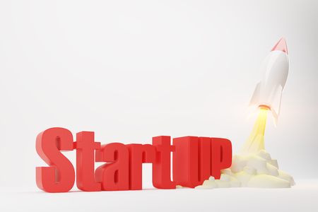 Cartoon rocket space ship taking off against white background. Red 3d start up words. 3d rendering. Mock up.