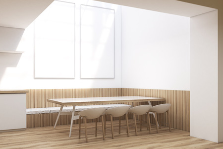 Cafe interior with a long table surrounded by original chairs. There are two vertical posters hanging on the white wall. 3d rendering, mock up