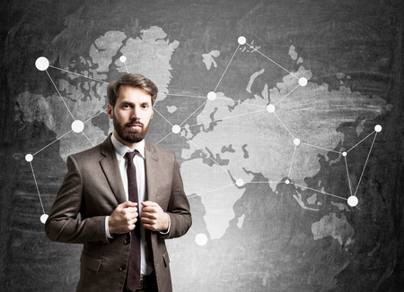 populace: Portrait of a bearded businessman standing near ablackboard wtih a world map on it.