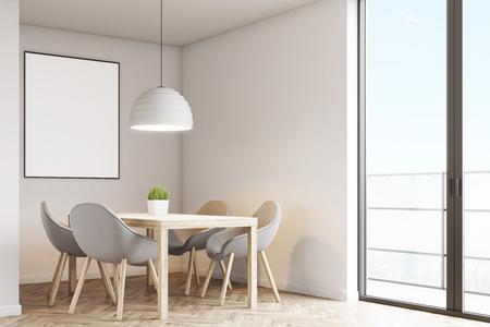 테이블, 네 개의 회색 의자 및 밝은 회색 벽에 매달려 포스터 부엌의 코너. 3d 렌더링, mock up