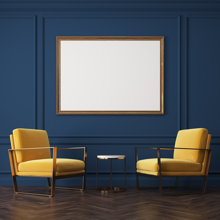 Two yellow armchairs are standing near a small coffee table. There is a large horizontal poster on the wall above it. 3d rendering, mock up Archivio Fotografico