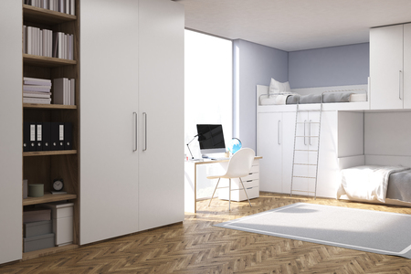 bedcover: Corner of a room of a teenager with computer standing on a white desk, a closet and a double bed of original construction. 3d rendering. Mock up. Stock Photo