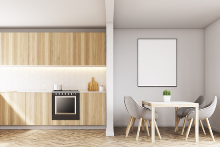 living room wall: Wooden kitchen counters with an oven and a table with gray chairs around it. 3d rendering, mock up Stock Photo