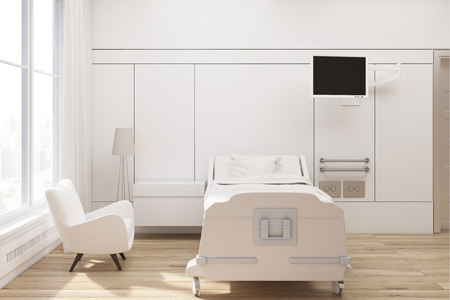 Front view of a hospital ward with a bed, a tv set, a white armchair and curtains on large windows. 3d rendering, Mock up