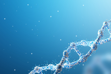 Close up of a blue diagonal DNA chain against dark blue background. Concept of science. 3d rendering. Mock up