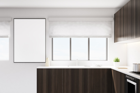 apartment suite: Kitchen with a counter made of dark wood. There is a wide window and a with poster on the wall. 3d rendering, mock up Stock Photo