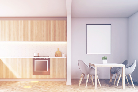 living room wall: Wooden kitchen counters with an oven and a table with gray chairs around it. 3d rendering, mock up, toned image