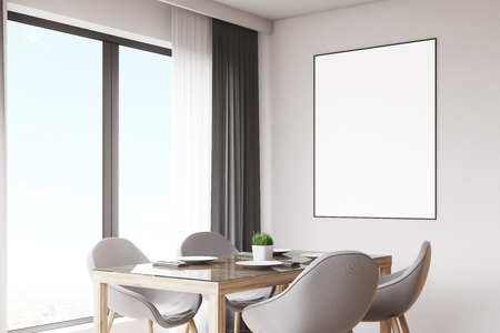 회색의 자 및 ligth 회색 벽에 매달려 수직 포스터와 주방 테이블 닫습니다. 3d 렌더링, mock up