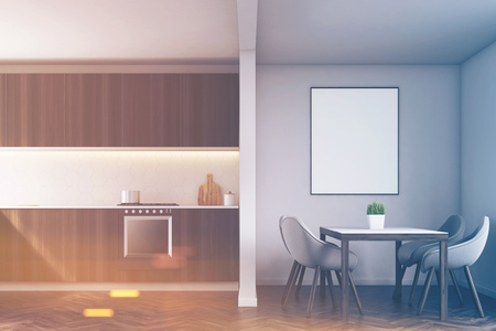 countertop: Kitchen counter made of dark wood, a table surrounded by chairs and poster on a gray wall. 3d rendering, mock up, toned image Stock Photo