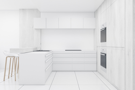 countertop: White kitchen interior with counters, two built in ovens and a bar. 3d rendering. Stock Photo