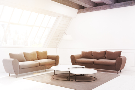 living room wall: Two beige sofas and a table are standing in a room in an attic. There is a narrow round table and a carpet. Side view. 3d rendering, mock up Stock Photo