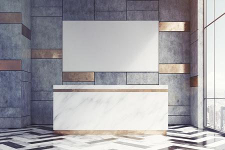 위의 긴 포스터가있는 대리석 접수 창구는 대리석 및 금벽이있는 사무실에 있습니다. 3d 렌더링, mock up, toned image