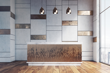 Wooden reception counter is standing in an office lobby with white and bronze decoration elements. 3d rendering.