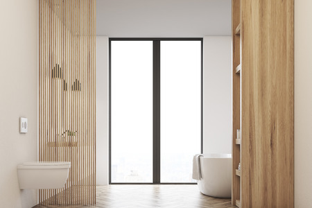 Front view of a bathroom with a tub, a toilet and a window. Walls are made of light wood. 3d rendering Stok Fotoğraf