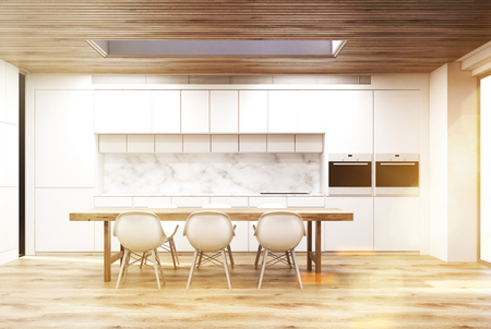 countertop: Marble kitchen with a long table, toned