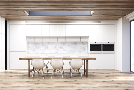 Marble kitchen with a long table