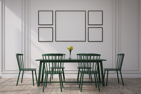 modern living room: Dark dining room with a long table, four chairs and framed pictures hanging on a white wall. 3d rendering. Mock up Stock Photo