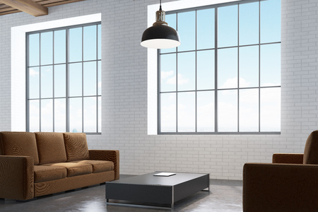 modern living room: Office waiting room with a narrow square coffee table, a brown sofa and an armchair standing near it and two large windows. 3d rendering.