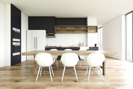 Superior Vorderansicht Eines Kücheninnenraums Mit Einem Bretterboden, Einem Langen  Holztisch Mit Weißen Stühlen Und Einem Großen