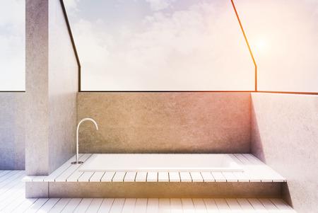 Nahaufnahme Einer Fliesen Badewanne In Den Boden Versenkt Es Gibt
