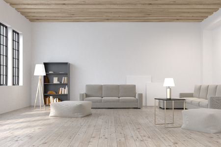 interior design home: Living room with a black bookcase standing near a long gray sofa and two large posters standing on the floor. 3d rendering, mock up