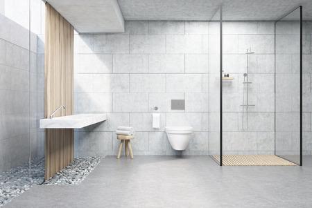 Badezimmerinnenraum mit grauen Ziegelmauern, Duschkabine mit Glaswand, WC und Doppelwaschbecken. 3D-Rendering