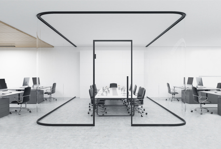 Open office with a glass aquarium and a conference room inside. Concept of a modern workplace. 3d rendering Stock Photo