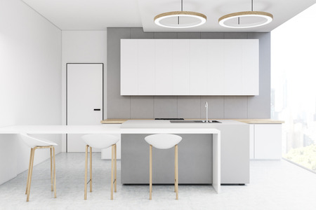 countertop: Kitchen interior with a light gray wall, a long horizontal poster hanging on it, a table and three stools. 3d rendering, mock up Stock Photo